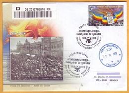 2018 Moldova Moldau Moldavia 100 Years. Anniversary. Union  Used FDC Romania  Basarabia Bessarabia Transnistria - Moldova