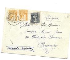 Spaanse Burgeroorlog 1939 VALENCIA 4 MEI Naar Brussel CENSURA MILITAR VALENCIA - Marcophilie