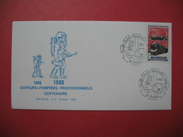 Lettre  1988  Sapeurs-Pompiers Professionnels Centenaire  Mulhouse - Marcophilie (Lettres)