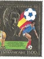 COUPE DU MONDE DE FOOTBALL ESPAGNE 1982 Republique  CENTRAFRICAINE  FEUILLE D'OR - Fußball-Weltmeisterschaft