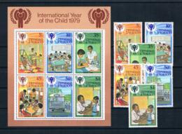 Trinidad&Tobago 1979 Kinder Mi.Nr. 385/90 Kpl. Satz + Block 26 ** - Trinidad & Tobago (1962-...)