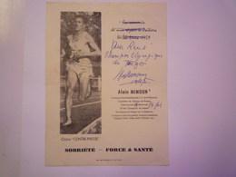 "2019  (258)  Alain  MIMOUN  :  AUTOGRAPHE Sur DOC  ""Pour René Champion Olympique Du Tango""   1965   XXXX - Athlétisme"