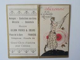 1926 Carte Parfumée Calendrier De La Corbeille Royale Suzanne Pub Mercerie Franière Floreffe - Cartes Parfumées