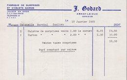 FACTURE J.GODARD - FABRIQUE DE SURPRISES ET D'OBJETS GARNIS - ARNAY LE DUC - 18 JANVIER 1965 - 1950 - ...