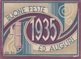 CALENDARIO POSTALE PUBBLICITARIO  /  BUONE FESTE ED AUGURI - 1935 _ Litografia Felice GILI - Torino - Formato Piccolo : 1921-40