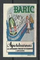 SWEDEN Ca 1920 BARIC Apotekarnas Water Company Göteborg Werbemarke - Cinderellas