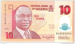Nigeria - Pick 39d - 10 Naira 2013 - Unc - Nigeria