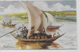 Portugal - Aguarelista Ilustrador Alberto De Sousa - Barcos Rabelos -Rio Douro. - Peintures & Tableaux