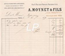 21-1466   1879 OUTILS ET FOURNITURES D HORLOGERIE VERRES DE MONTRES EN GROS A MOYNET ET FILS A PARIS - M. PEYGUE - France