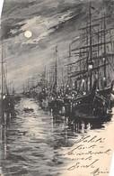 Cartolina Marina Con Barche A Vela Notturno Illustrata 1903 - Cartoline
