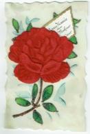 Carte Celluloïd Et Collage De Tissu. Strass. Rose. - Cartes Postales