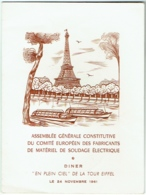 """Menu. """"En Plein Ciel"""" De La Tour Eiffel, Paris 1961. Comité Des Fabricants De Matériel De Soudage Electique. - Menus"""