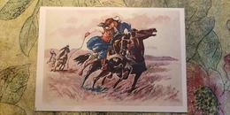 Regional Game,OLD USSR Postcard  - Kyz Kuu  -  1981 - Horse Racing - Jeux Régionaux