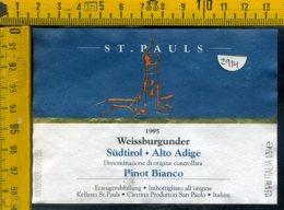 Etichetta Vino Liquore Sudtirol Pinot St. Paolo 1995 Bolzano - Etichette