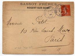 1907-- Lettre De NOGENT-10  Pour PARIS-75--cachet --type Semeuse - Storia Postale