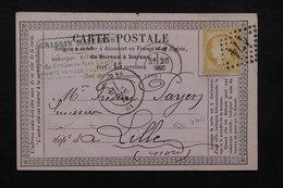 FRANCE - Carte Précurseur De Arras Pour Lille En 1874 , Affranchissement Cérès , GC 174 - L 21854 - Enteros Postales