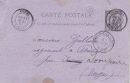 Vittel , Vosges ,boite Rurale B De Haréville Sur Entier Postal De 1888 - Postmark Collection (Covers)