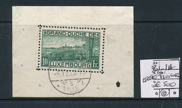 LUXEMBOURG PRIFIX BL 1A USED LUXEMBOURG 05.01.1923 LEGERES FROISURES - Blocs & Hojas