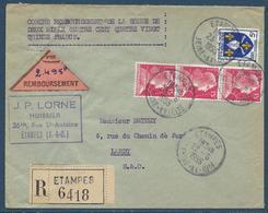 Lettre Recommandée Contre-remboursement Affr. 3 X 15 F Marianne De Muller Et 5 F Saintonge Obl. Tàd Etampes 23.6.1955 - 1955- Marianne (Muller)