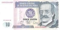 Peru - Pick 129 - 10 Intis 1987 - Unc - Perù