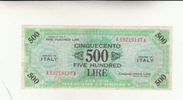 Italy, 500 Five Lire Occupazione Alleata 1943 - [ 3] Emissioni Militari