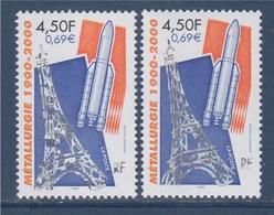 = Variété Peu Souvent Proposée N°3366  Métallurgie 1900-2000 Silhouette De La Tour Eiffel Et De La Fusée Ariane - Variétés Et Curiosités