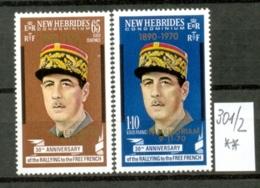 NEUE HEBRIDEN -  301/2  De Gaulle-Gedenkausgabe  Kompl. Postfr - Unused Stamps