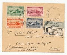 LIBAN 1938 Série Complète Journées Médicales De Beyrouth YT PA75/78 Sur Recommandé Par Avion De Beyrouth Pour St Germain - Gross-Libanon (1924-1945)