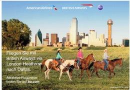 Werbekarte Britsh Airways/ American Airlines  - DALLAS - Flugwesen