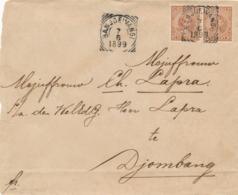 Nederlands Indië - 1899 - 2x 10 Cent Hangend Haar Op Cover Van VK BANJOEWANGI Naar Djombang - Nederlands-Indië