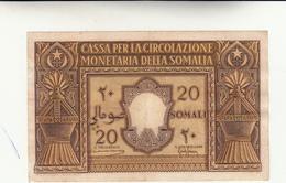 Amministrazione Fiduciaria Della Somalia, Banconota Da 20 Somali 1950  Piccoli Difetti Al Bordo+leggera Piega Al Centro - [ 6] Colonie