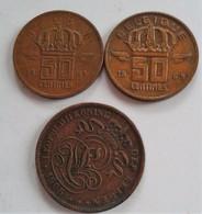 BELGIQUE 50 CENTS 1969 6 BELGIE 50 CENTS 1953  BELGEN  2 CENTS  1905   (B6-21) - Belgique