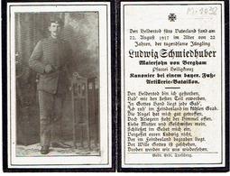 Sterbebild - MENEN Blok M-graf 1038 - Ludwig SCHMIEDHUBER (SCHMIDHUBER) - Kanonier Bayer. Fuss-Art. Bat. +22/8/1917 - 1914-18