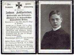 Sterbebild Johann KOHLPAINTNER - Gewond FLANDERN N.F. En +WÜRTEMBERG - Kanonier L.bay.Res. Fuss. Art. Regt 8.Batterie - 1914-18
