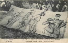 """CPA Guerre 1914-1915 Caricatures Faites Sur Une Toile De Tente Par Un """" Poilu """" Humoriste Militaria - Guerre 1914-18"""