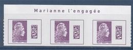 = Marianne L'Engagée International X3 Haut De Feuille Légendé Adhésif Valeur Affranchissement 3.90€ - 2018-... Marianne L'Engagée