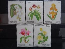 MONACO 1990 Y&T N° 1710 à 1714 ** - EXPOSITION FLORALE INTERN. AU JAPON - FLEURS - Unused Stamps