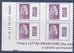 = Marianne L'Engagée International X4 Bas De Feuille Adhésif Coin Daté 14.12.18 TD207 Valeur Affranchissement 5.20€ - 2018-... Marianne L'Engagée