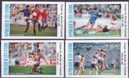 Elfenbeinküste, 1990, 1014/17, Fußball-Weltmeisterschaft 1990.  MNH **, Imperforated, - Côte D'Ivoire (1960-...)
