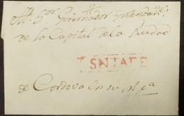 O) 1829 CIRCA-ARGENTINA-SPANISH COLONIAL, PREPHILATELY-PRESTAMP,  STRAIGHT LINE FRAMED SNTAFE IN RED, VERY FINE FOR THIS - Argentina
