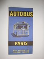 Autobus à Paris ,régie Autonome Des Transports Parisiens édition 1961 Plan Du  Réseau Urbain. - Transports
