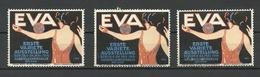 GERMANY 1914 First Variete Ausstellug EVA Berlin Werbemarken, 3 Exemplares, MNH - Cinderellas