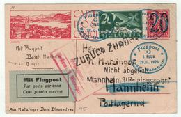 Suisse // Schweiz // Switzerland // Entiers Postaux // Entier Postal Par Poste Aérienne Via Mannheim Retour - Entiers Postaux