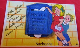 CPA 11 NARBONNE A SYSTEME MULTI VUES EN ACCORDEON , ENFANTS , BOITE AUX LETTRES EDIT. GABY   MECHANICAL PC - Narbonne