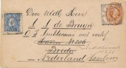 Nederlands Indië - 1896 - 5 Cent Cijfer Op Envelop G6 Van VK BELAWAN Naar Haarlem / Nederland - Nederlands-Indië