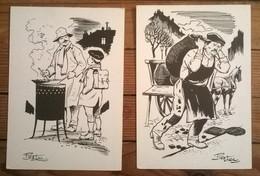 Lot De 2 Cartes Postales / Vieux Metiers / Dessin De PIERDEC - Illustrators & Photographers