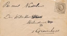 Nederlands Indië - 1895 - 15 Cent Willem III, Envelop G8 Van VK BODJONEGORO Via VK TOEBAN Naar Den Haag / Nederland - Indes Néerlandaises