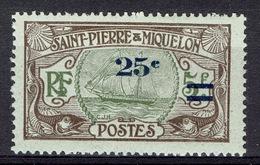 Saint Pierre And Miquelon, Fishing Vessel, 25c/5f, 1924, MH VF - St.Pierre & Miquelon