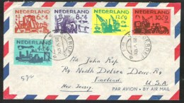NVPH 722/726 Zomerzegels 1959 Volledige Serie Op Brief Naar USA - Periode 1949-1980 (Juliana)