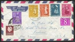 NVPH 707/711 Zomerzegels 1958 Volledige Serie Op Brief Naar USA - Periode 1949-1980 (Juliana)